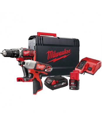MILWAUKEE Mixed M12 and M18 Cordless Combo Drill Kit: M12 Impact Driver and M18 Hammer Drill Driver M1218BPP2L-202X